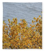 Gold Leaves Fleece Blanket