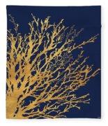 Gold Medley On Navy Fleece Blanket