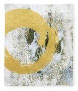 Gold Rush - Abstract Art Fleece Blanket by Linda Woods