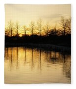 Golden And Peaceful - A Sunset On Lake Ontario In Toronto Canada Fleece Blanket