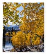 Golden Aspen On The Lake Fleece Blanket