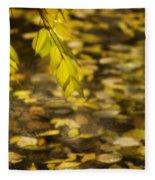 Golden Autumn Colour Foliage On Rainy Pond Fleece Blanket