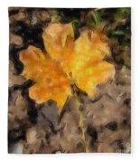 Golden Autumn Maple Leaf Filtered Fleece Blanket