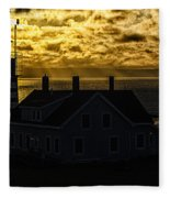 Golden Backlit West Quoddy Head Lighthouse Fleece Blanket