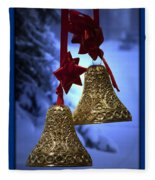 Golden Bells Blue Greeting Card Fleece Blanket