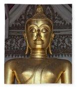 Golden Buddha Temple Statue Fleece Blanket