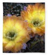 Golden Cactus Flowers  Fleece Blanket