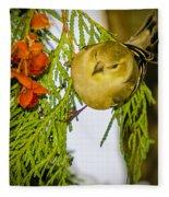 Golden Christmas Finch Fleece Blanket