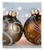 Golden Christmas Ornaments Fleece Blanket