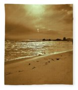 Golden Coast Sunset Fleece Blanket