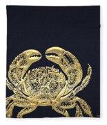 Golden Crab On Charcoal Black Fleece Blanket