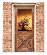 Golden Doorway Window View Fleece Blanket