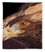 Golden Eagle Close Up Painting By Carolyn Bennett Fleece Blanket