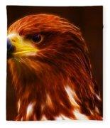 Golden Eagle Eye Fractalius Fleece Blanket