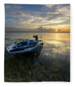 Golden Fishing Hour Fleece Blanket