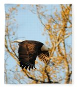 Golden Flight In April Fleece Blanket