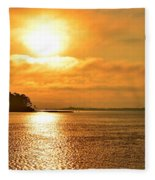 Golden Foggy Sunrise Colors On Santa Rosa Sound At Hurlburt Harbor Fleece Blanket