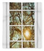 Golden Forest  Branches White 8 Windowpane View Fleece Blanket