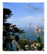 Golden Gate Bridge And Wildflowers Fleece Blanket