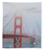 Golden Gate Bridge In Fog Fleece Blanket