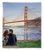 Golden Gate Bridge San Francisco - Two Love Birds Fleece Blanket