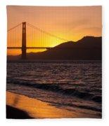 Golden Gate Bridge Sunset Fleece Blanket