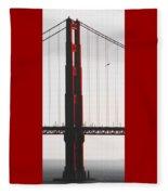 Golden Gate Bridge - Sunset With Bird Fleece Blanket