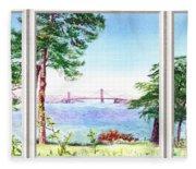 Golden Gate Bridge View Window Fleece Blanket