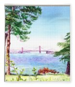 Golden Gate Bridge View Window Fleece Blanket