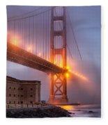 Golden Gate In Fog Fleece Blanket