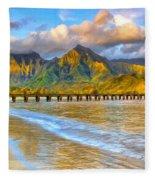 Golden Hanalei Morning Fleece Blanket