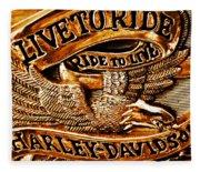 Golden Harley Davidson Logo Fleece Blanket