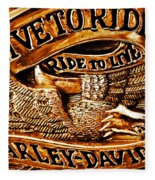 Golden Harley Davidson Logo Fleece Blanket