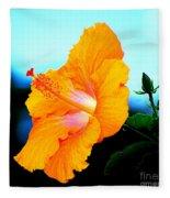 Golden Hibiscus Fleece Blanket