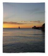 Golden Hour At Naples Pier Fleece Blanket
