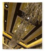 Golden Jewels And Gems - Sparkling Crystal Chandeliers  Fleece Blanket
