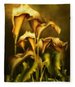 Golden Lilies By Night Fleece Blanket
