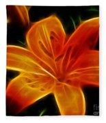 Golden Lily Expressive Brushstrokes Fleece Blanket