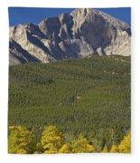 Golden Longs Peak View Fleece Blanket