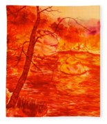Golden Mountain Lake Morning  Fleece Blanket