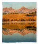 Golden Mountains  Reflection Fleece Blanket