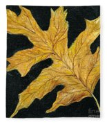Golden Oak Leaf Fleece Blanket