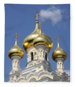 Golden Onion Domes - Church Yalta Fleece Blanket