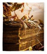 Golden Pages Falling Flowers Fleece Blanket