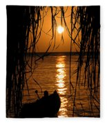Golden Palapa Fleece Blanket
