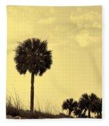 Golden Palm Silhouette Fleece Blanket