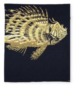 Golden Parrot Fish On Charcoal Black Fleece Blanket