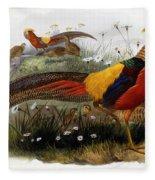 Golden Pheasants Fleece Blanket