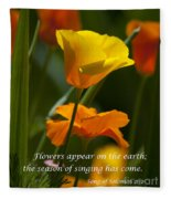 Golden Poppy Floral  Bible Verse Photography Fleece Blanket