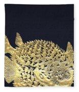 Golden Puffer Fish On Charcoal Black Fleece Blanket